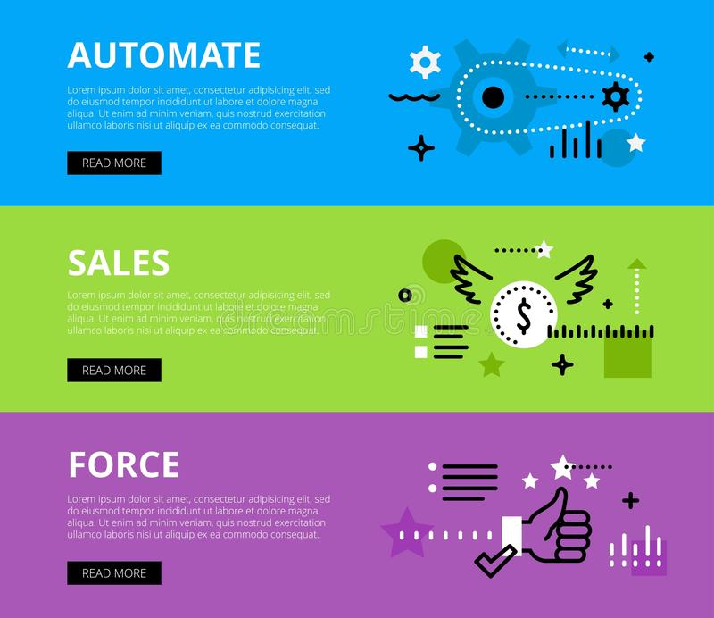 Automate Salesforce. Web banners set. Flat line web banners of automating sales force. Line gearwheel, currency symbol and thumbs up for websites and marketing royalty free illustration