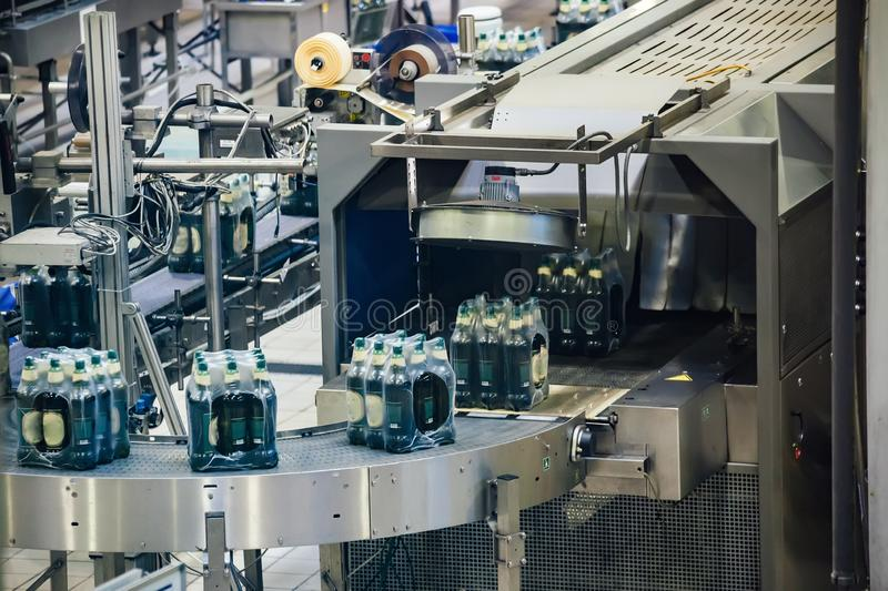 Automated beer bottling production line. Packed beer bottles on conveyor belt royalty free stock image