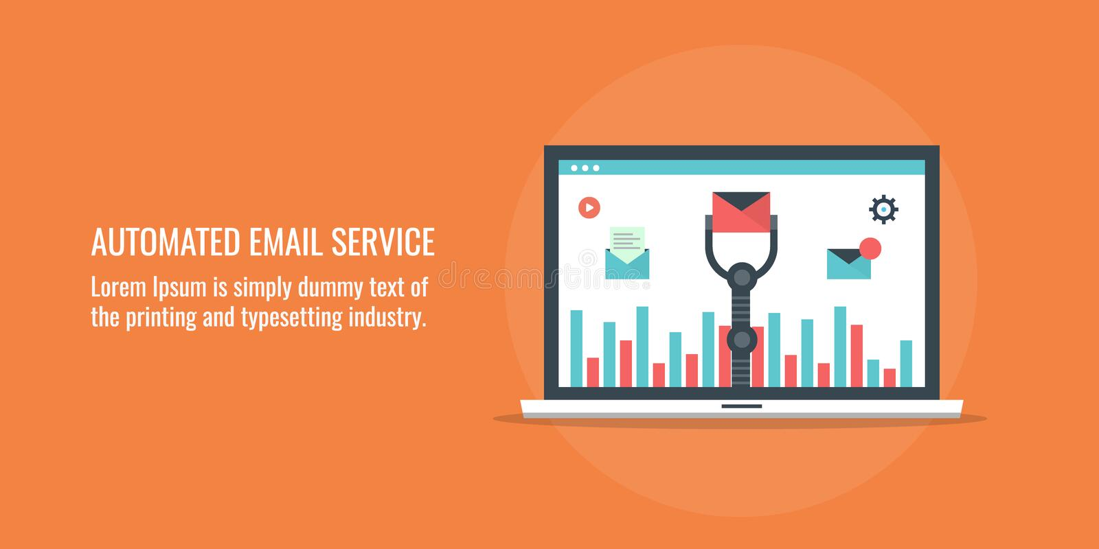 Automated email service - marketing automation concept. Flat design vector illustration. royalty free illustration
