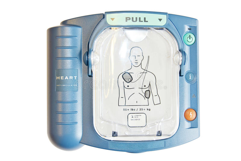 Automated External Defibrillator or AED. Isolated on white and PNG format available stock photo