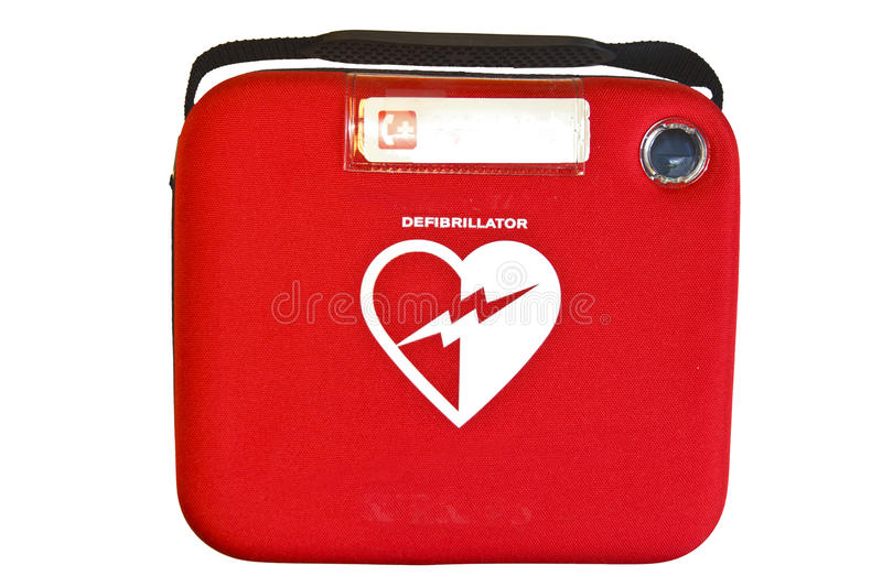 Automated External Defibrillator or AED. Safety box containing an Automated External Defibrillator or AED isolated on white royalty free stock image