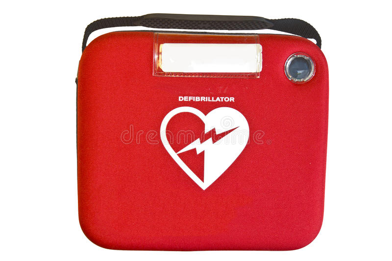 Automated External Defibrillator or AED. Safety box containing an Automated External Defibrillator or AED isolated on white stock image