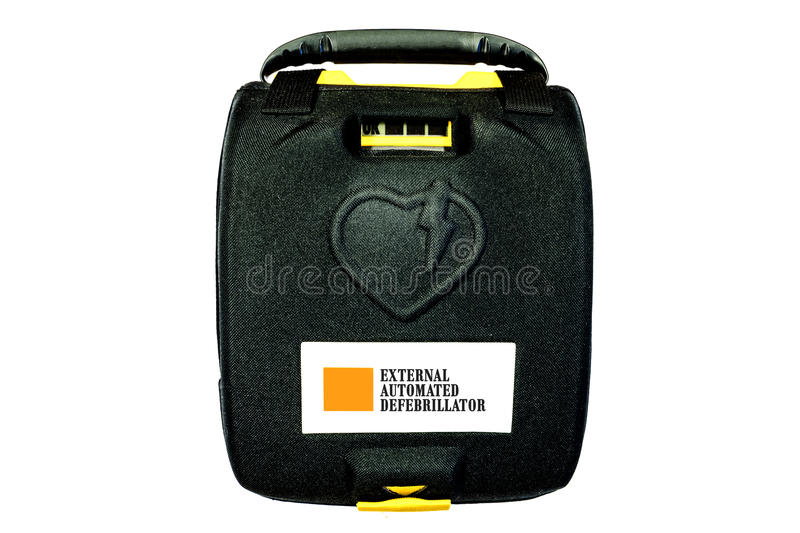Automated External Defibrillator or AED. Heart Start Defibrillator, Automated External Defibrillator or AED isolated on white and format available stock photography