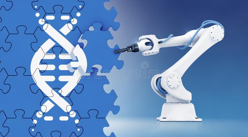 Automated Genetic Engineering. Robotic arm assembling a wall of jigsaw puzzle with a pictogram of DNA molecule pictured on it. 3D rendering graphics on the stock illustration