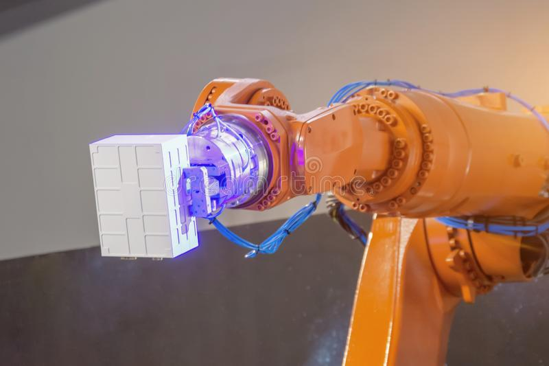 Automated hand robot technical production, measurement, study of the parameters of objects. Industrial techno theme.  royalty free stock photography