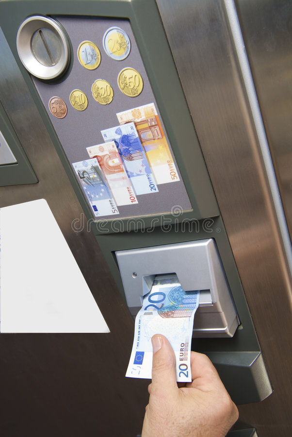 Automated paying machine. Automatic paying machine euro currency stock images
