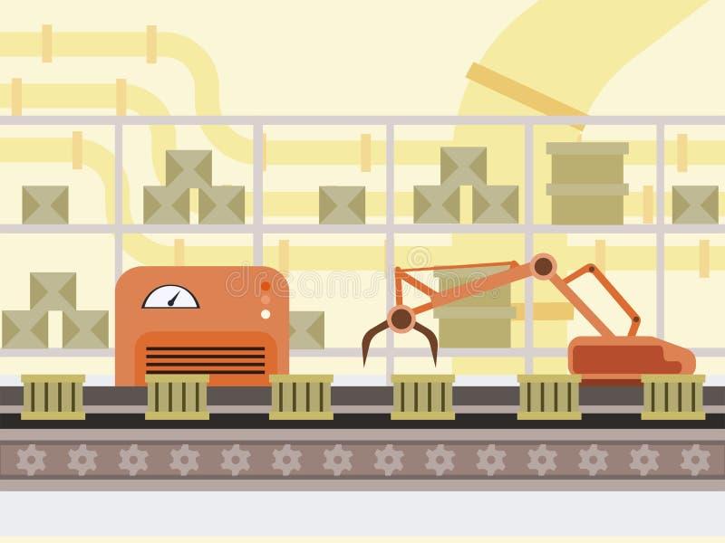 Automated production line cartoon illustration. Boxes on factory conveyor belt, robot hand modern automotive technology stock illustration