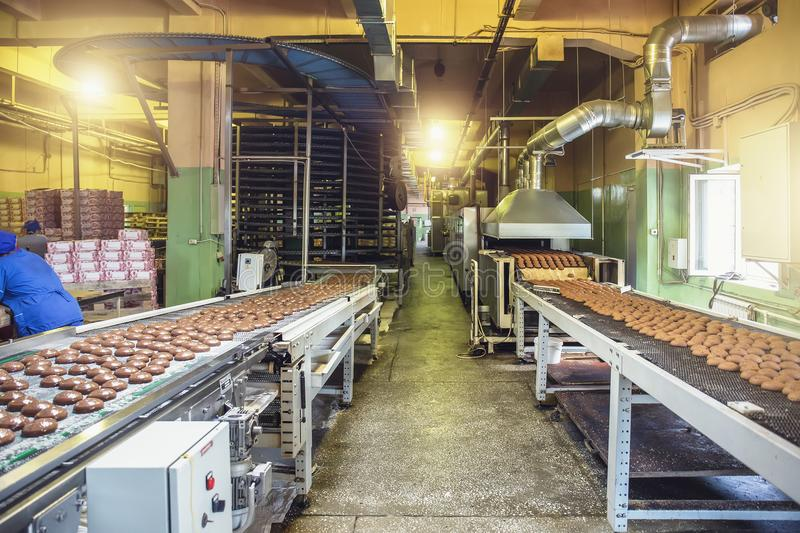 Automated production line and conveyor belt at modern bakery factory interior. Industrial food production stock images