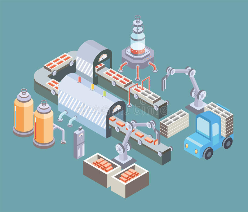 Automated production line. Factory floor with conveyor and various machines. Vector illustration in isometric projection. Automated production line. Factory vector illustration