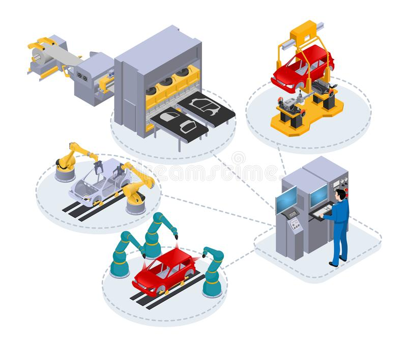 Automated production line under the control of a computer to assemble cars. Isometric image on white background royalty free illustration