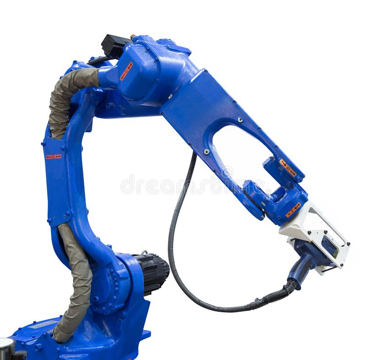 Automated robotic arm with 3D scanner in automotive industry. Isolated on white background with clipping path stock photos