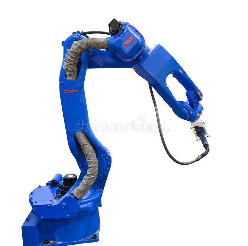 Automated robotic arm with 3D scanner in automotive industry. Isolated on white background with clipping path stock photo