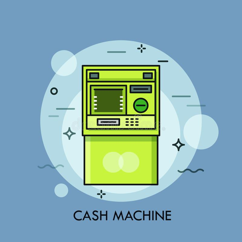 Automated Teller Machine or ATM, device to perform financial transactions. Banking services, cash withdrawal, bank stock illustration