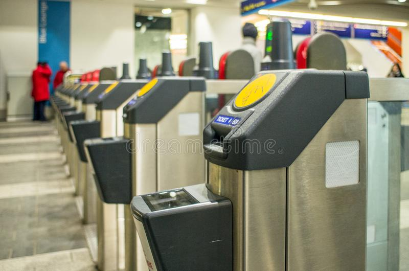 Automated ticket checking machines stock photos