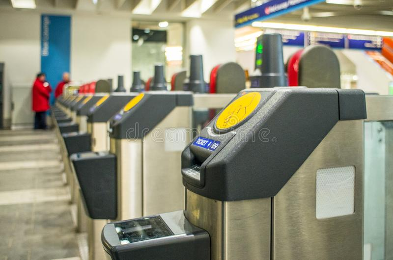 Automated ticket checking machines royalty free stock photo