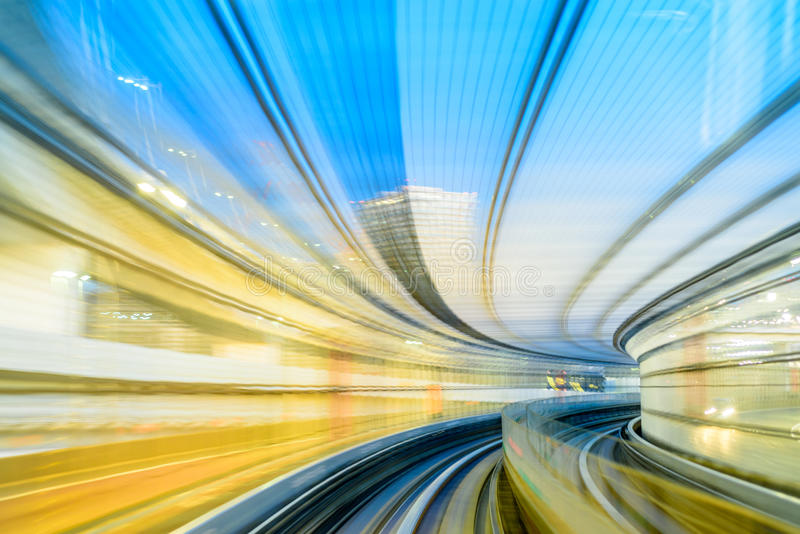 Automated train tunnel in japan as concept of high speed and fut royalty free stock image