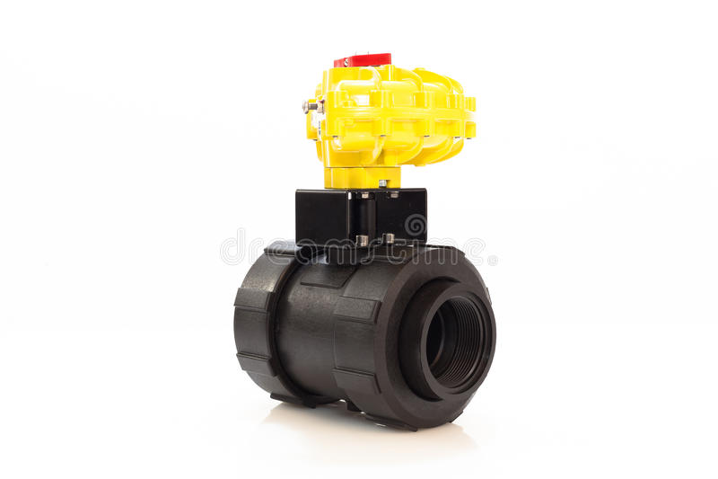 Automated valve. Automated plastic valve, pneumatic automator royalty free stock photo