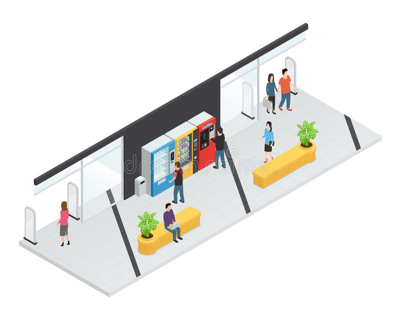 Automaten Isometrisch Concept vector illustratie