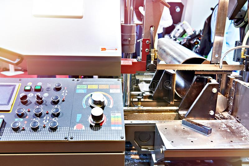 Automatic band saw. With control panel royalty free stock photos
