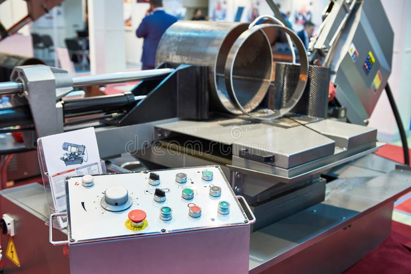 Automatic band saw. With control panel royalty free stock image
