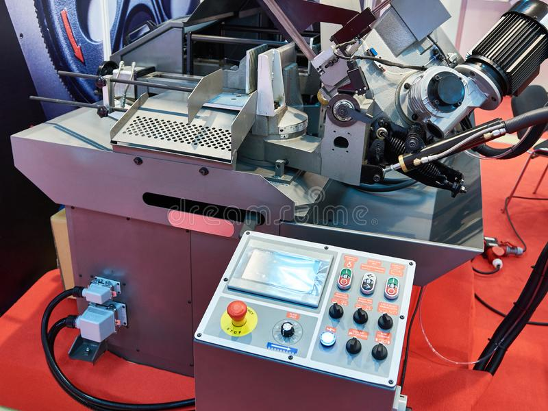 Automatic band saw. With control panel royalty free stock photography