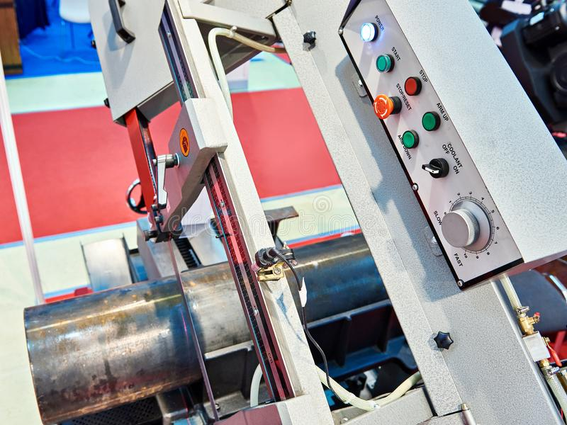 Automatic band saw. With control panel stock photo