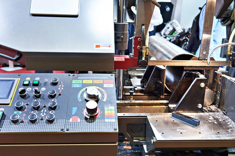 Automatic band saw. With control panel stock photos