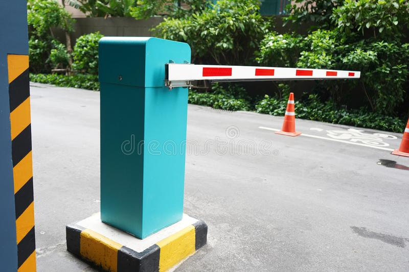 Automatic Barrier Gate, Security system for building and car entrance vehicle barrier stock photo