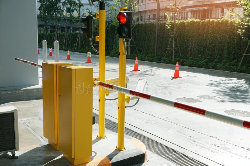 Automatic Barrier Gate and Traffic lights, Security system for building and car entrance vehicle barrier stock photo