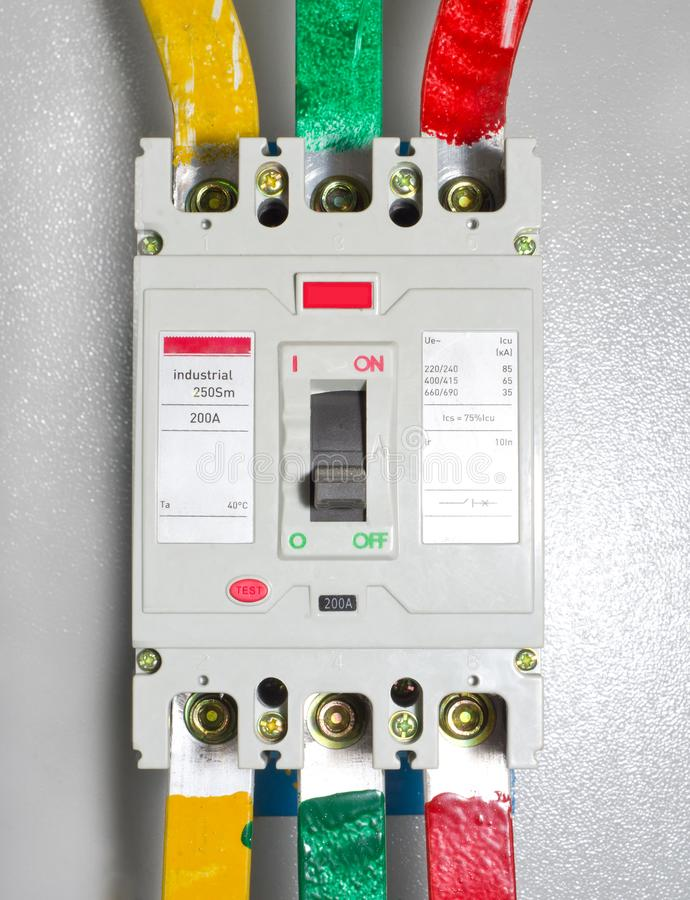 Automatic block electrical circuit breaker. Elecricity stock images