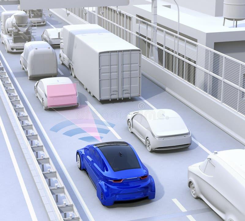 Automatic braking system concept stock illustration