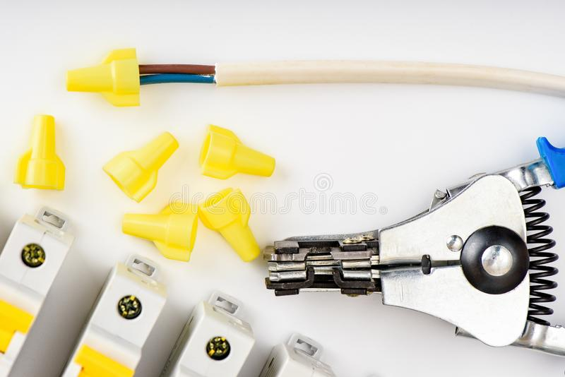 Automatic circuit breakers. Accessories for safe and secure electrical installation. Electrical equipment, protection and control. Automatic circuit breakers royalty free stock photography