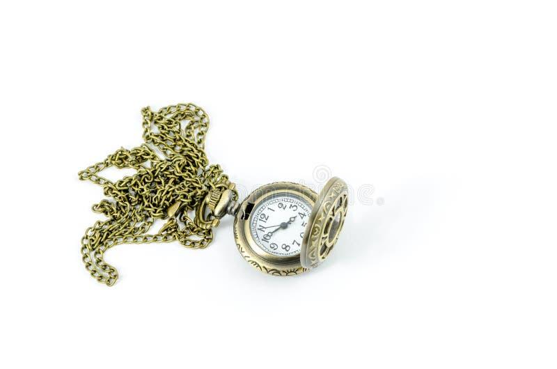 Automatic Clock Locket Gothic Lolita Necklace. Isolated over white background stock photos