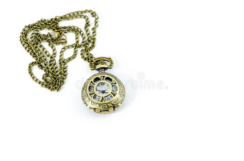 Automatic Clock Locket Gothic Lolita Necklace. Isolated over white background stock image