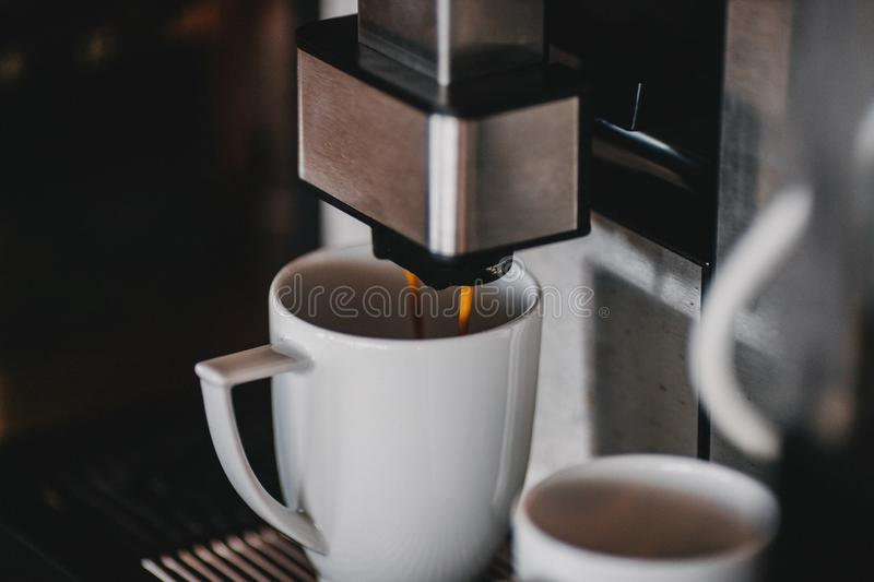 Automatic coffee machine close up royalty free stock photos