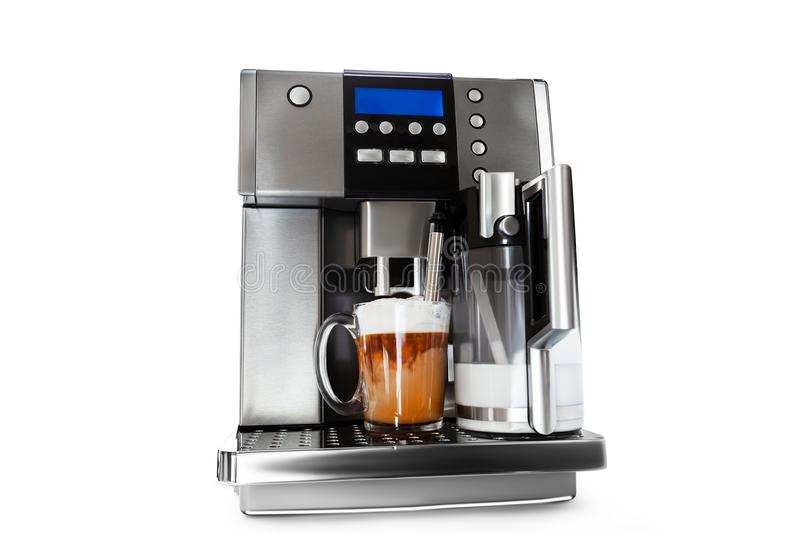 Automatic coffee maker with cup of coffee stock photos