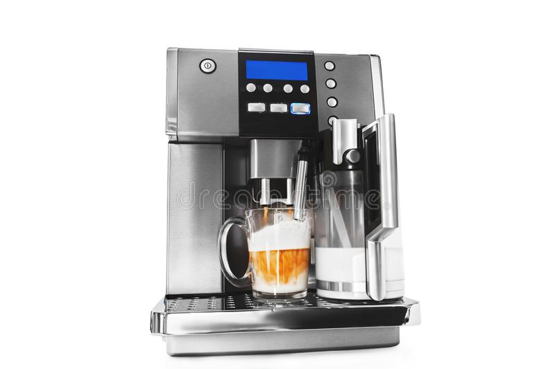 Automatic coffee maker with cup of coffee royalty free stock photos