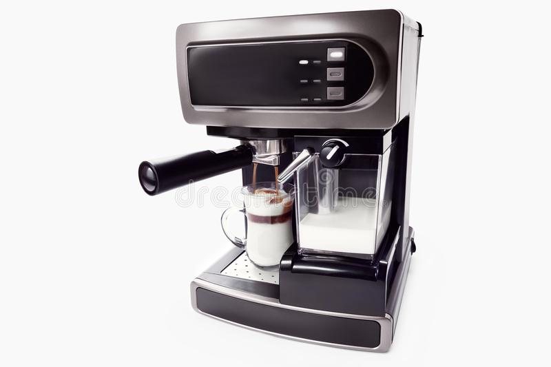 Automatic coffee maker with cup of coffee stock photo
