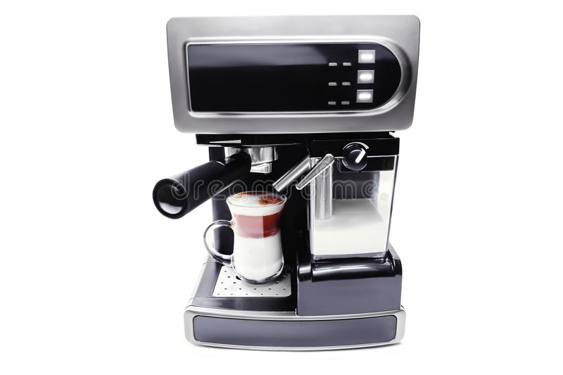 Automatic coffee maker with cup of coffee royalty free stock photo