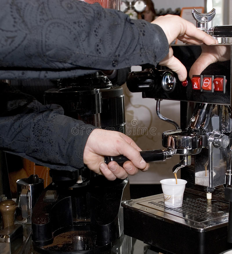 The automatic device of manufacturing of coffee stock images