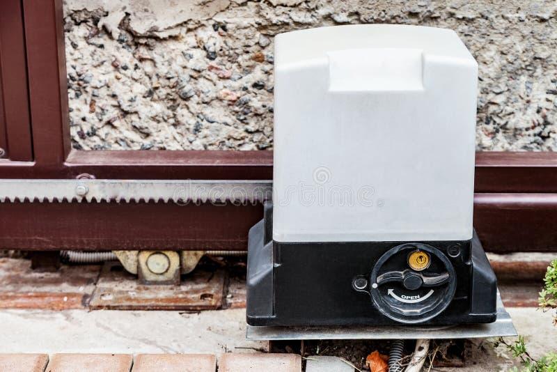 Gate motor. Parts of Sliding Gate system royalty free stock image