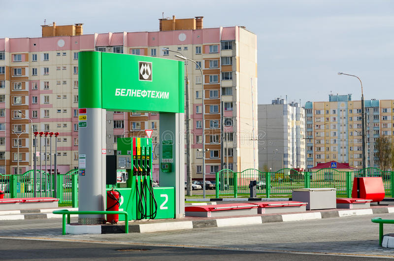 Automatic filling station, Street Checherskaya, Gomel, Belarus stock images
