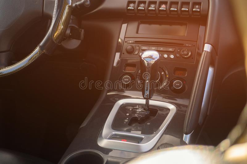 Automatic gear parked inside modern vehicle car automobile.  royalty free stock images