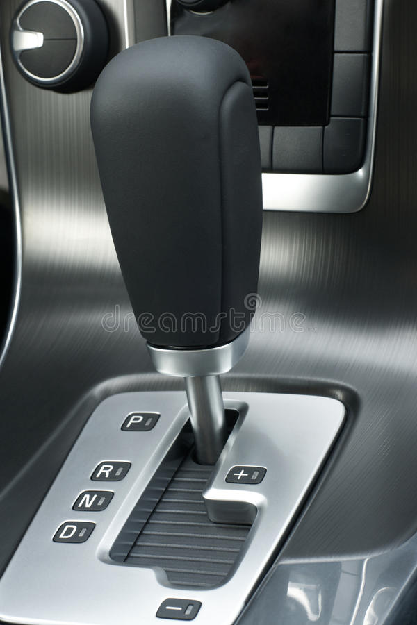 Automatic gear shift of a car. A vertical picture royalty free stock image