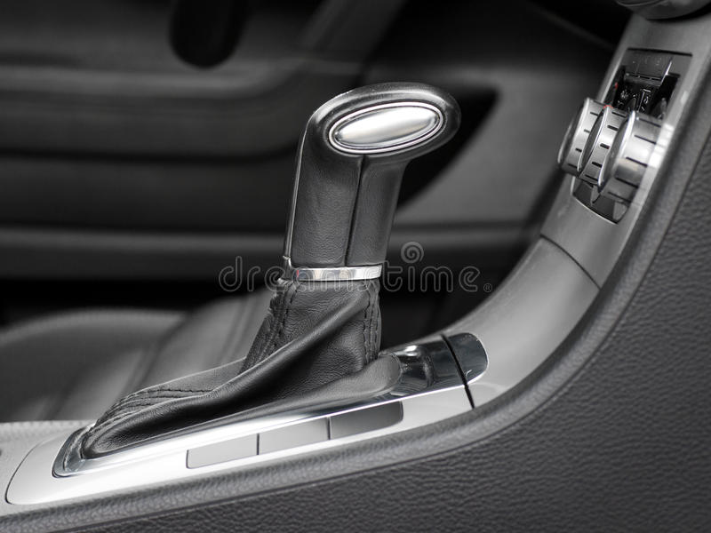 Automatic gear shift. In car stock photo