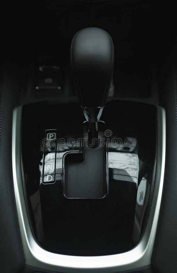 Automatic gearbox lever Automatic transmission gearshift stick Close-up view royalty free stock images