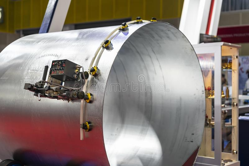 Automatic & high precision drive carriage for attach equipment or tool for cylinder work cutting or perforate hole drilling  and. Other in manufacture metal royalty free stock image