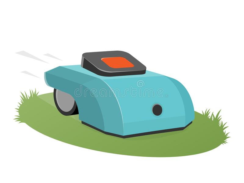 Automatic lawnmower mowing the lawn. Clipart of an automatic lawnmower mowing the lawn vector illustration