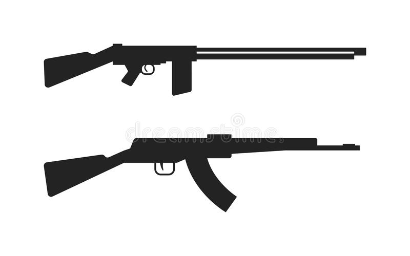 automatic machine gun ak 47 isolated on white black silhouette rh dreamstime com ak 47 vector free ak47 vector