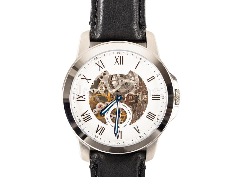 Automatic Men Watch With Visible Mechanism Isolated. On White royalty free stock images